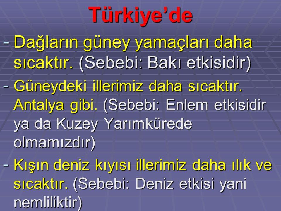 Türkiye'de Dağların güney yamaçları daha sıcaktır. (Sebebi: Bakı etkisidir)