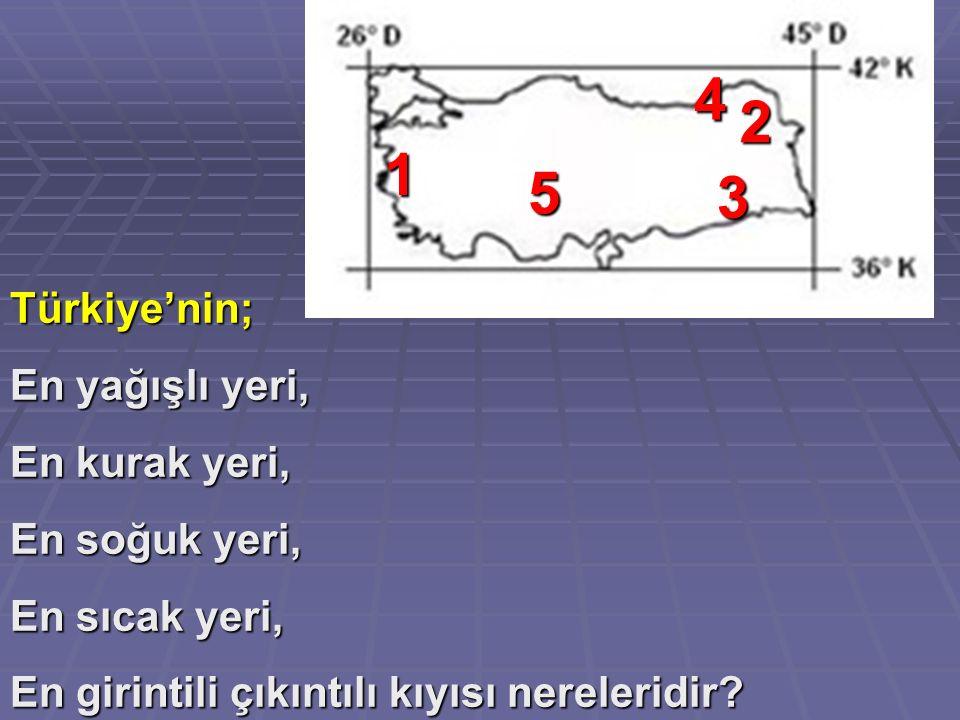 4 2 1 5 3 Türkiye'nin; En yağışlı yeri, En kurak yeri, En soğuk yeri,