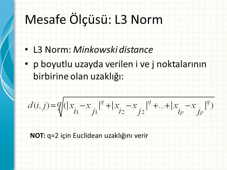 Mesafe Ölçüsü: L3 Norm L3 Norm: Minkowski distance