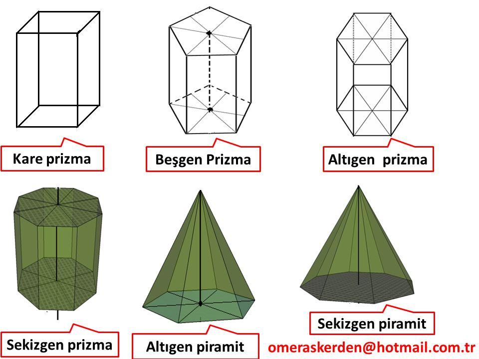 Kare prizma Beşgen Prizma. Altıgen prizma. Sekizgen piramit. Sekizgen prizma. Altıgen piramit.