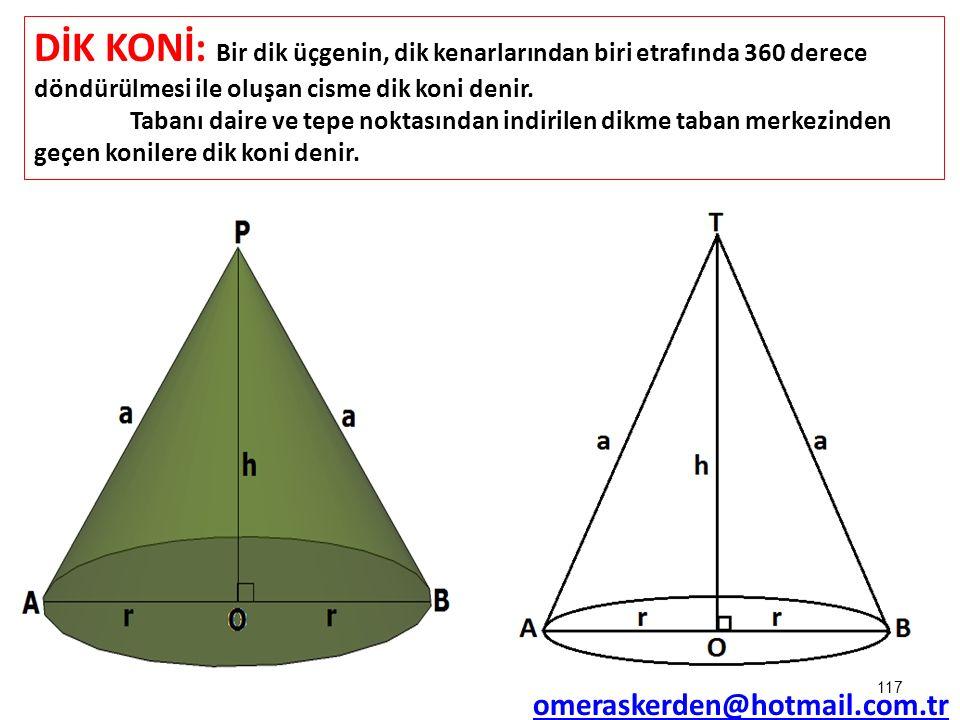DİK KONİ: Bir dik üçgenin, dik kenarlarından biri etrafında 360 derece döndürülmesi ile oluşan cisme dik koni denir.