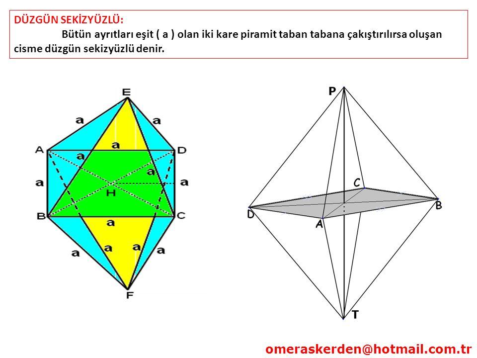 DÜZGÜN SEKİZYÜZLÜ: Bütün ayrıtları eşit ( a ) olan iki kare piramit taban tabana çakıştırılırsa oluşan cisme düzgün sekizyüzlü denir.