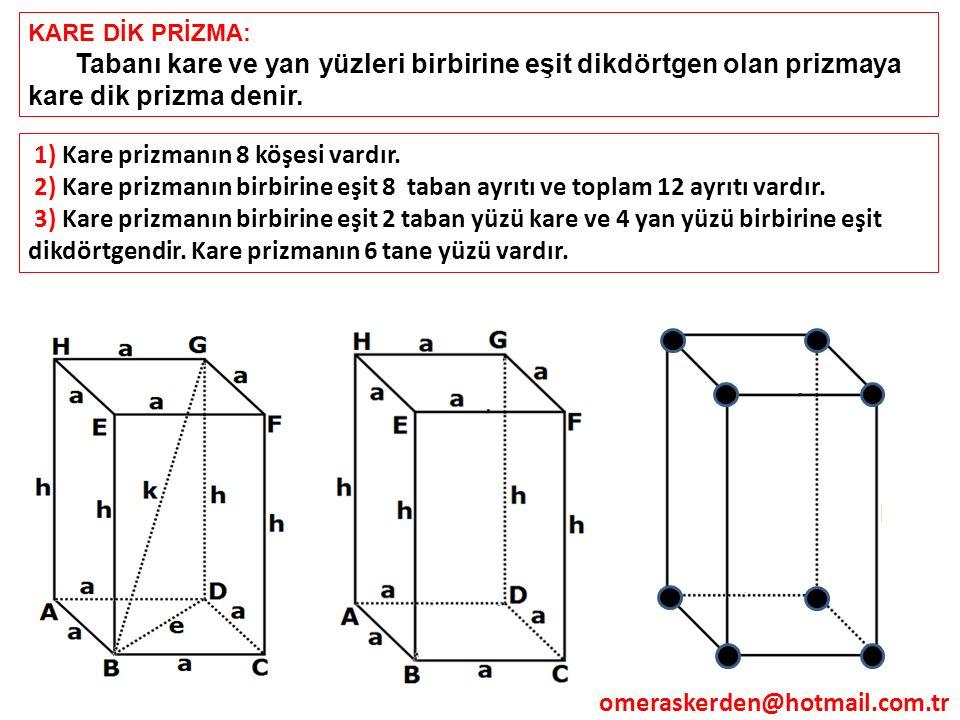 1) Kare prizmanın 8 köşesi vardır.