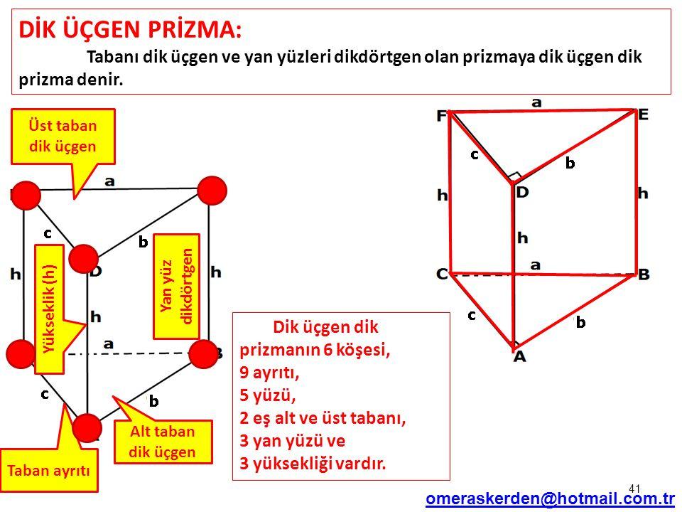 DİK ÜÇGEN PRİZMA: Tabanı dik üçgen ve yan yüzleri dikdörtgen olan prizmaya dik üçgen dik prizma denir.