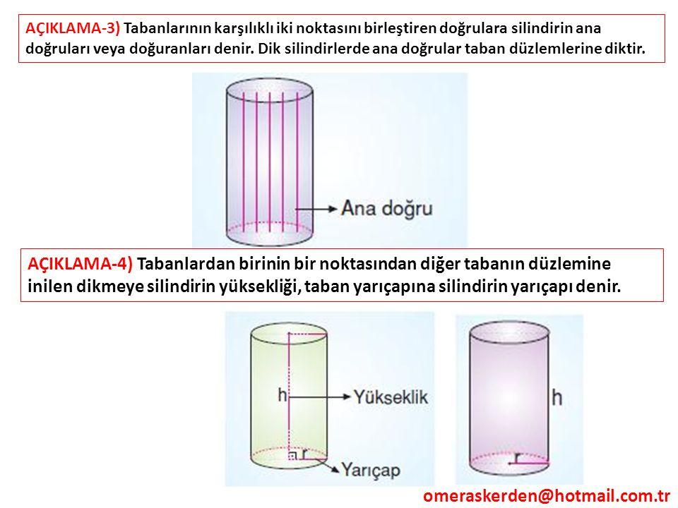 AÇIKLAMA-3) Tabanlarının karşılıklı iki noktasını birleştiren doğrulara silindirin ana doğruları veya doğuranları denir. Dik silindirlerde ana doğrular taban düzlemlerine diktir.