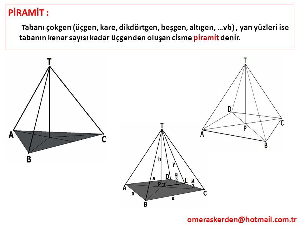 PİRAMİT : Tabanı çokgen (üçgen, kare, dikdörtgen, beşgen, altıgen, …vb) , yan yüzleri ise tabanın kenar sayısı kadar üçgenden oluşan cisme piramit denir.