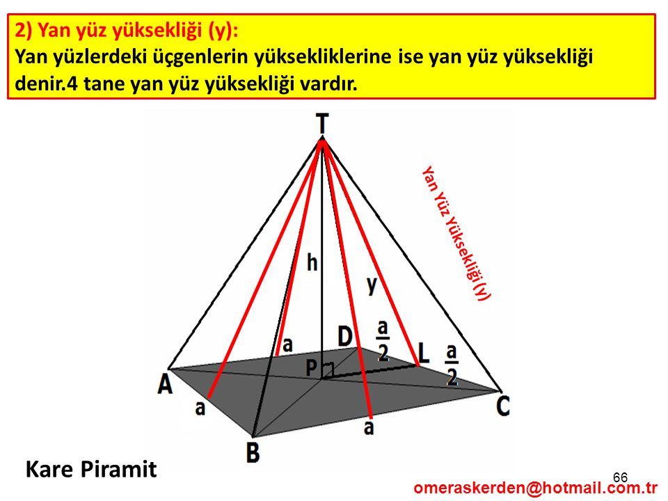 Kare Piramit 2) Yan yüz yüksekliği (y):