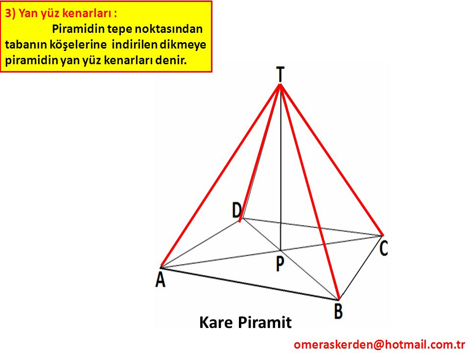 Kare Piramit 3) Yan yüz kenarları :