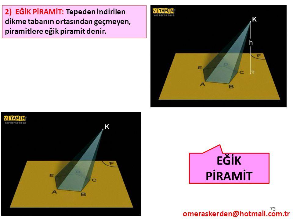 2) EĞİK PİRAMİT: Tepeden indirilen dikme tabanın ortasından geçmeyen, piramitlere eğik piramit denir.