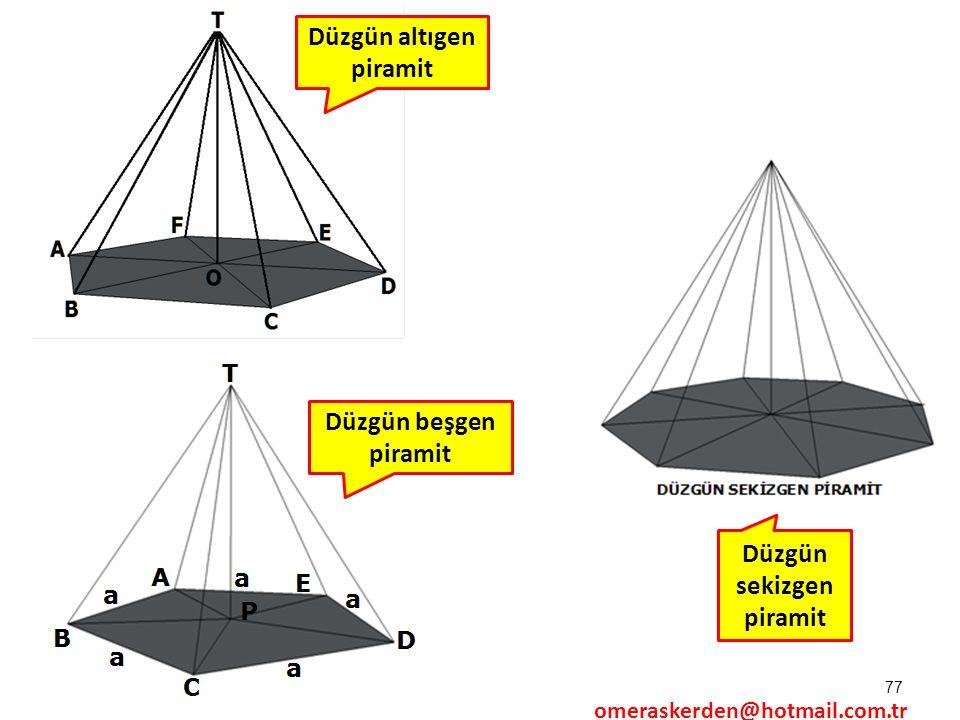 Düzgün altıgen piramit Düzgün sekizgen piramit