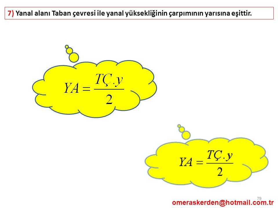 7) Yanal alanı Taban çevresi ile yanal yüksekliğinin çarpımının yarısına eşittir.