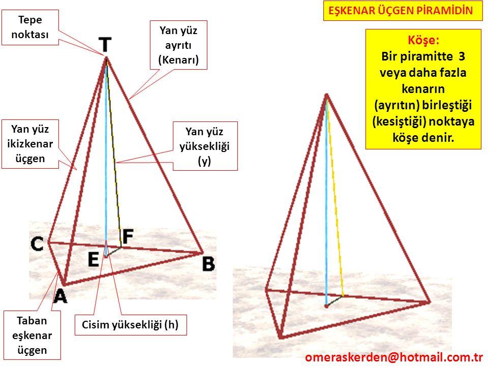 Bir piramitte 3 veya daha fazla kenarın