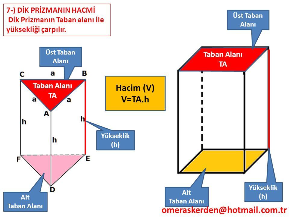 Hacim (V) V=TA.h omeraskerden@hotmail.com.tr 7-) DİK PRİZMANIN HACMİ