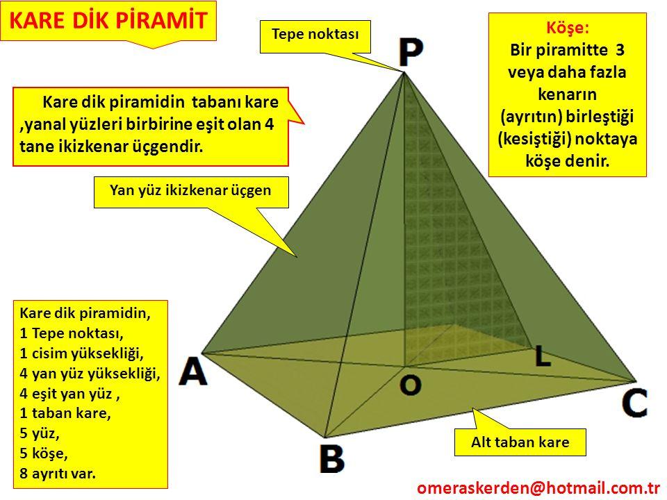 KARE DİK PİRAMİT Köşe: Bir piramitte 3 veya daha fazla kenarın