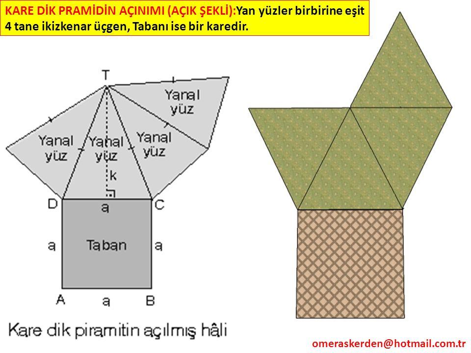 KARE DİK PRAMİDİN AÇINIMI (AÇIK ŞEKLİ):Yan yüzler birbirine eşit 4 tane ikizkenar üçgen, Tabanı ise bir karedir.
