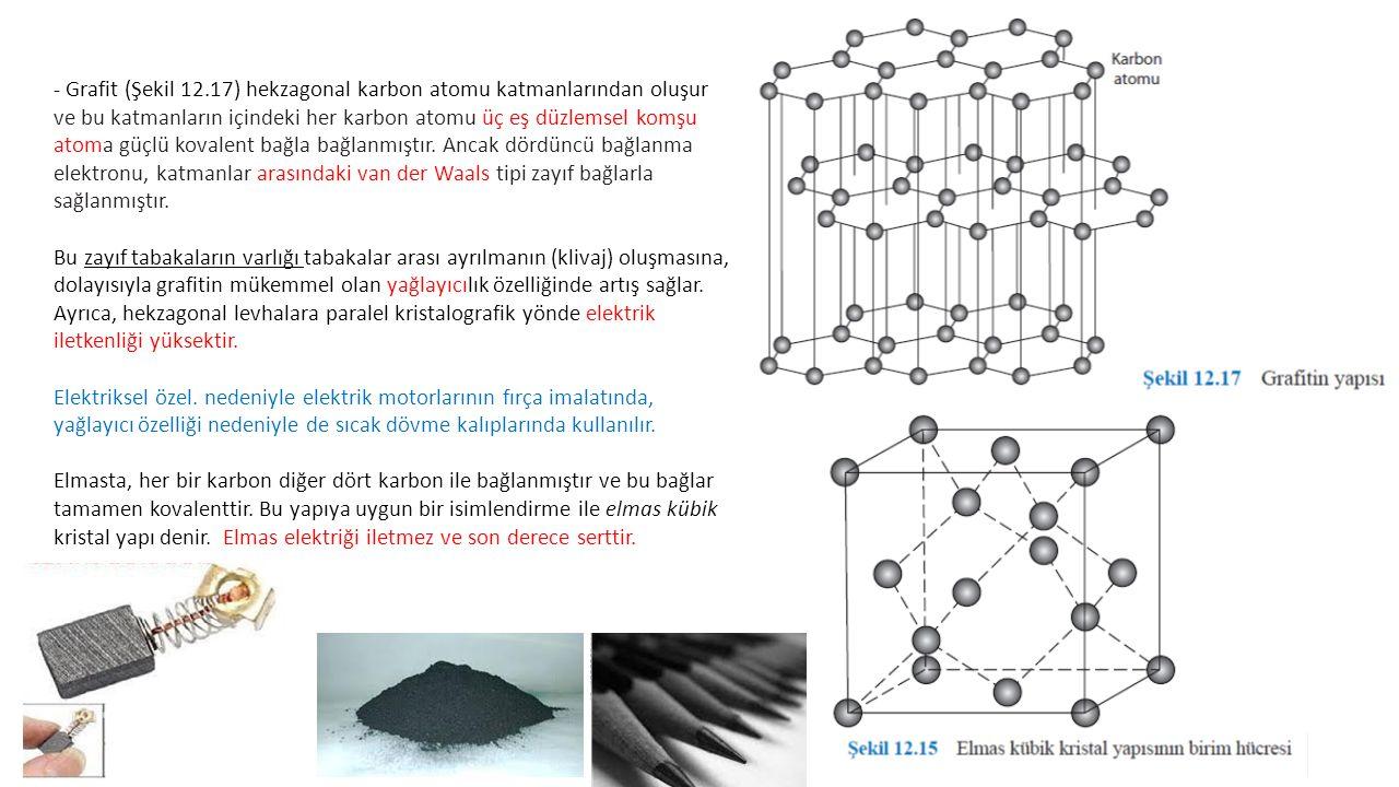 - Grafit (Şekil 12.17) hekzagonal karbon atomu katmanlarından oluşur ve bu katmanların içindeki her karbon atomu üç eş düzlemsel komşu atoma güçlü kovalent bağla bağlanmıştır. Ancak dördüncü bağlanma elektronu, katmanlar arasındaki van der Waals tipi zayıf bağlarla sağlanmıştır.