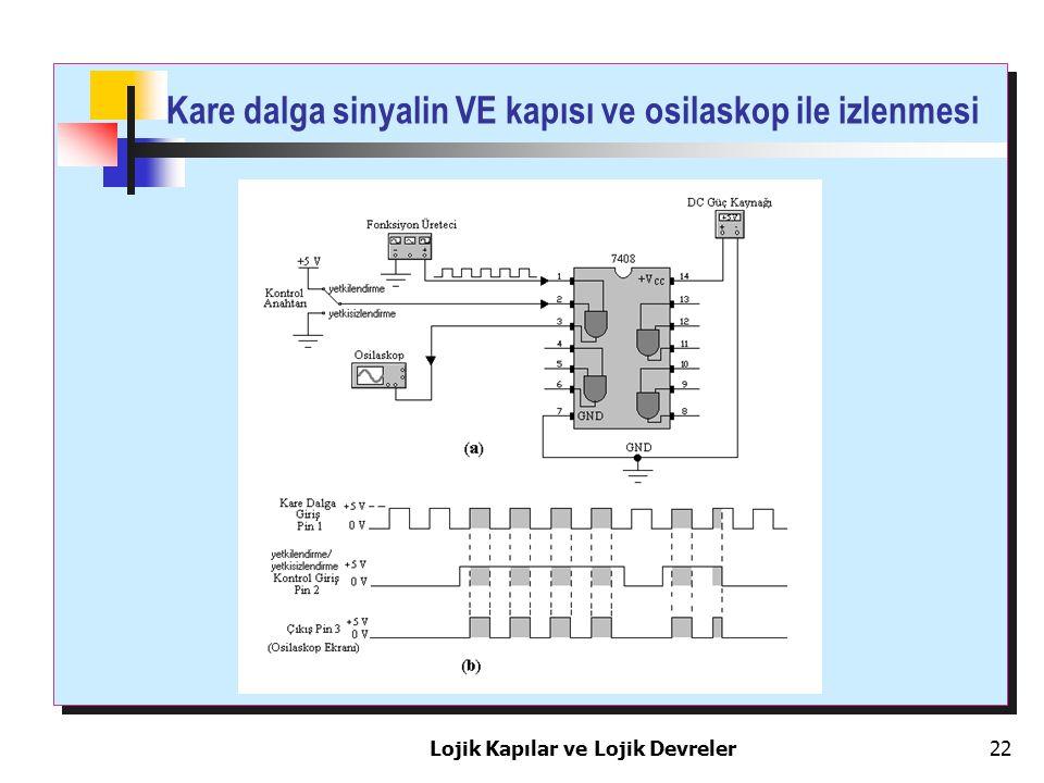 Kare dalga sinyalin VE kapısı ve osilaskop ile izlenmesi