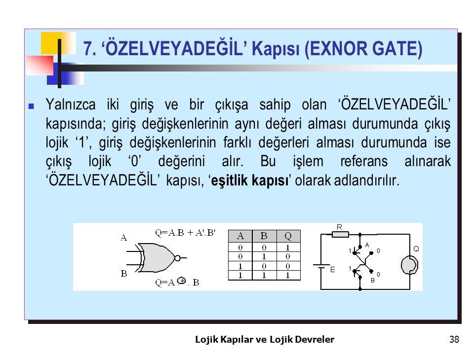 7. 'ÖZELVEYADEĞİL' Kapısı (EXNOR GATE)