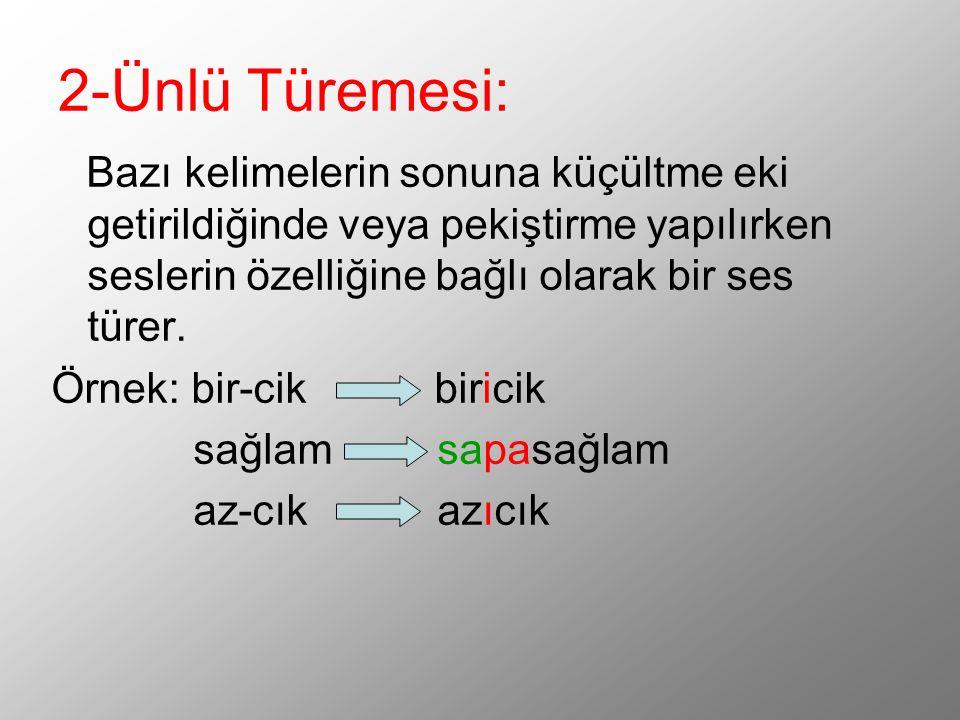 2-Ünlü Türemesi: Bazı kelimelerin sonuna küçültme eki getirildiğinde veya pekiştirme yapılırken seslerin özelliğine bağlı olarak bir ses türer.