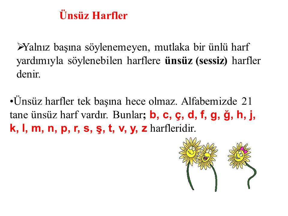Ünsüz Harfler Yalnız başına söylenemeyen, mutlaka bir ünlü harf yardımıyla söylenebilen harflere ünsüz (sessiz) harfler denir.