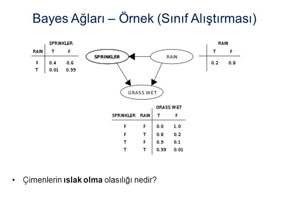 Bayes Ağları – Örnek (Sınıf Alıştırması)