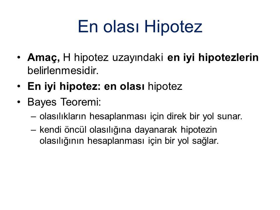 En olası Hipotez Amaç, H hipotez uzayındaki en iyi hipotezlerin belirlenmesidir. En iyi hipotez: en olası hipotez.