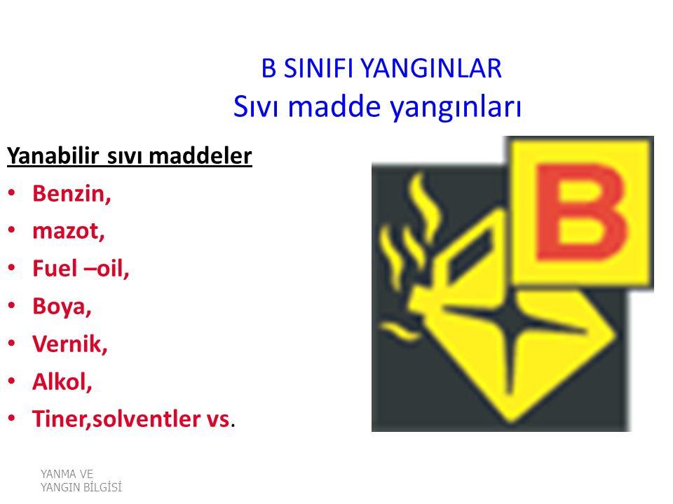 B SINIFI YANGINLAR Sıvı madde yangınları