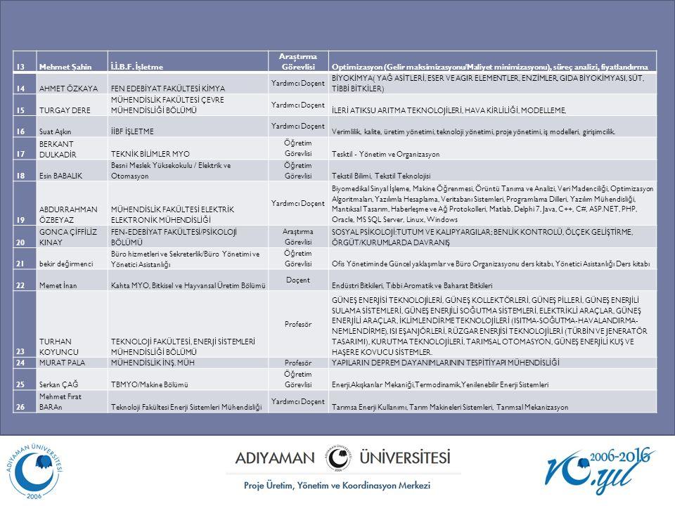 13 Mehmet Şahin. İ.İ.B.F. İşletme. Araştırma Görevlisi. Optimizasyon (Gelir maksimizasyonu/Maliyet minimizasyonu), süreç analizi, fiyatlandırma.