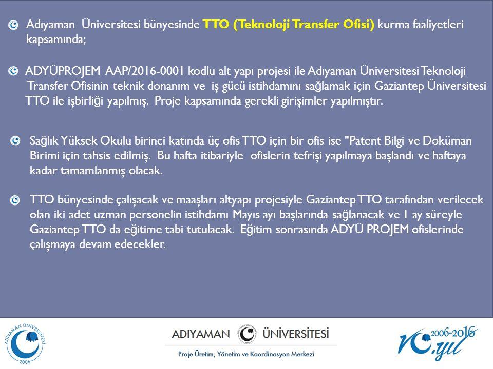 Adıyaman Üniversitesi bünyesinde TTO (Teknoloji Transfer Ofisi) kurma faaliyetleri