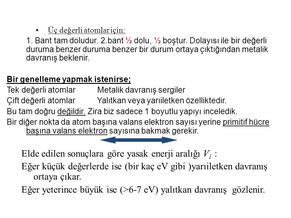 Elde edilen sonuçlara göre yasak enerji aralığı V1 :