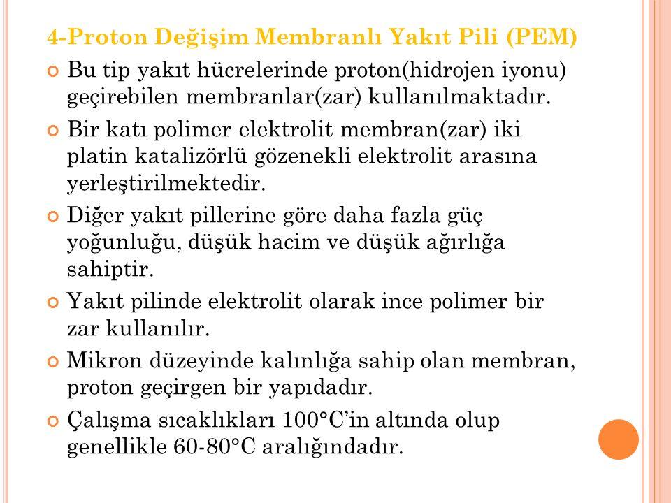 4-Proton Değişim Membranlı Yakıt Pili (PEM)