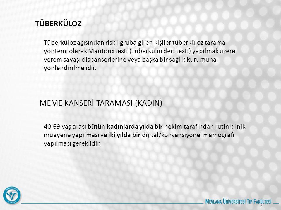 MEME KANSERİ TARAMASI (KADIN)