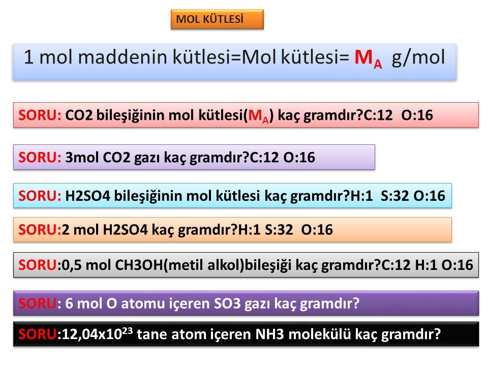 1 mol maddenin kütlesi=Mol kütlesi= MA g/mol