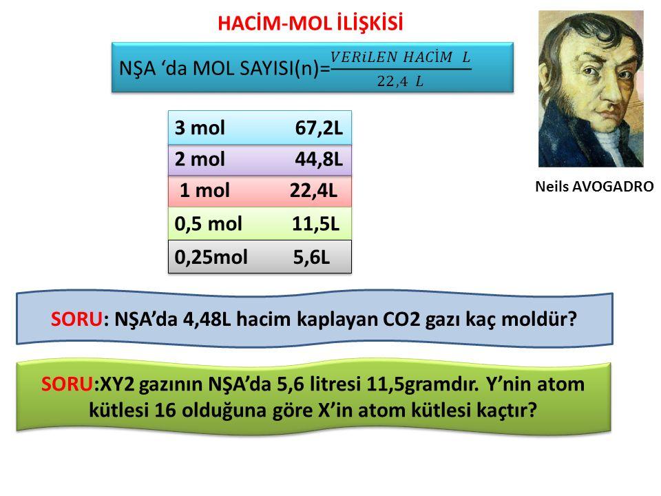 SORU: NŞA'da 4,48L hacim kaplayan CO2 gazı kaç moldür