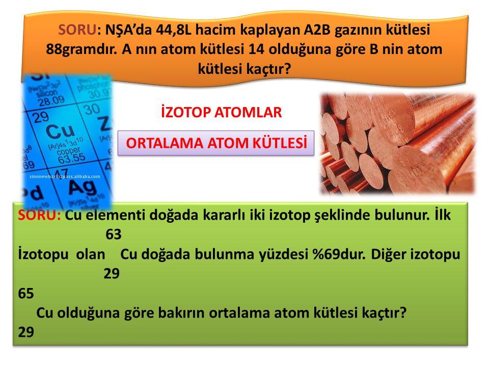 SORU: NŞA'da 44,8L hacim kaplayan A2B gazının kütlesi 88gramdır