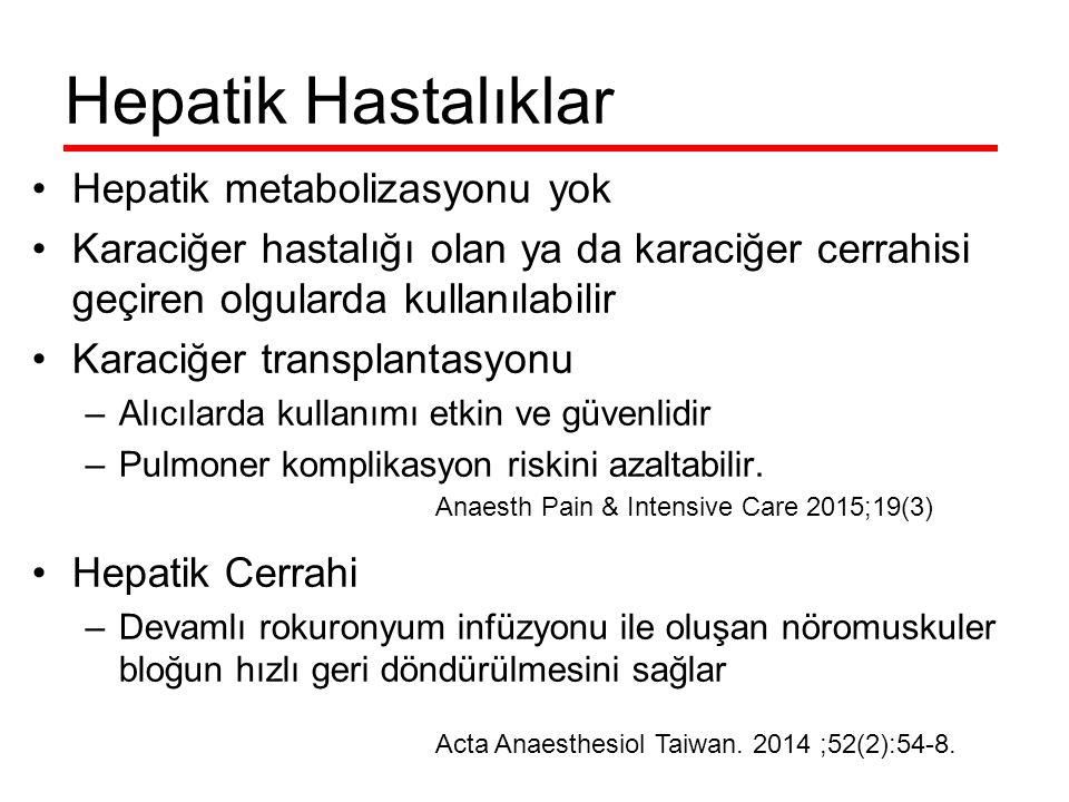 Hepatik Hastalıklar Hepatik metabolizasyonu yok