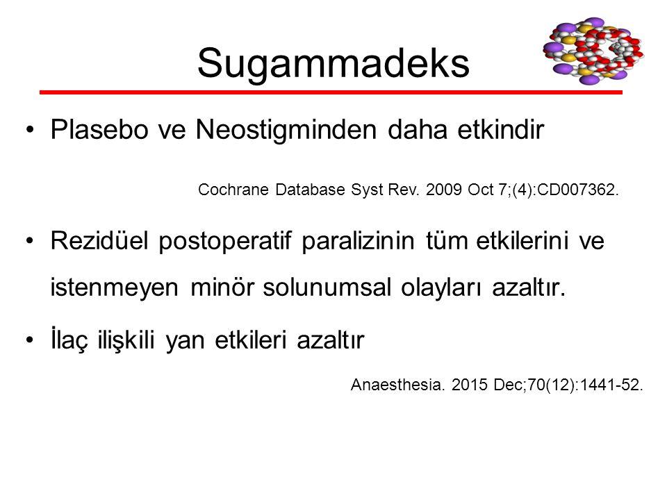Sugammadeks Plasebo ve Neostigminden daha etkindir