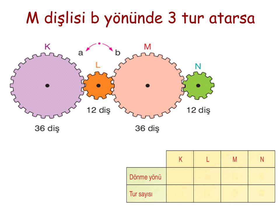 M dişlisi b yönünde 3 tur atarsa
