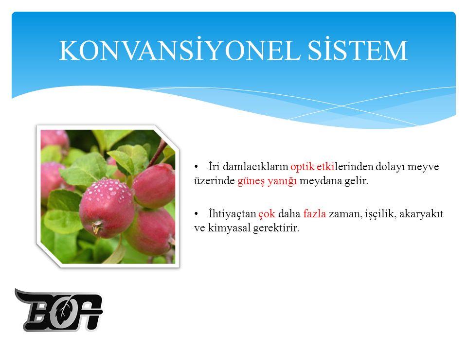KONVANSİYONEL SİSTEM İri damlacıkların optik etkilerinden dolayı meyve