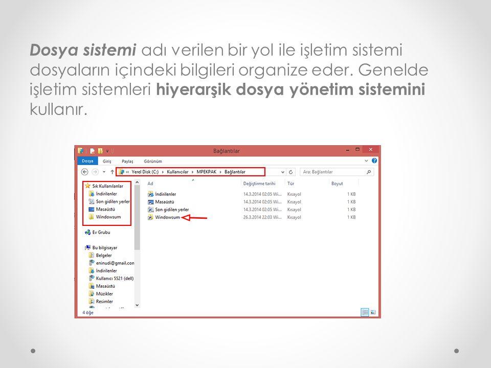 Dosya sistemi adı verilen bir yol ile işletim sistemi dosyaların içindeki bilgileri organize eder.