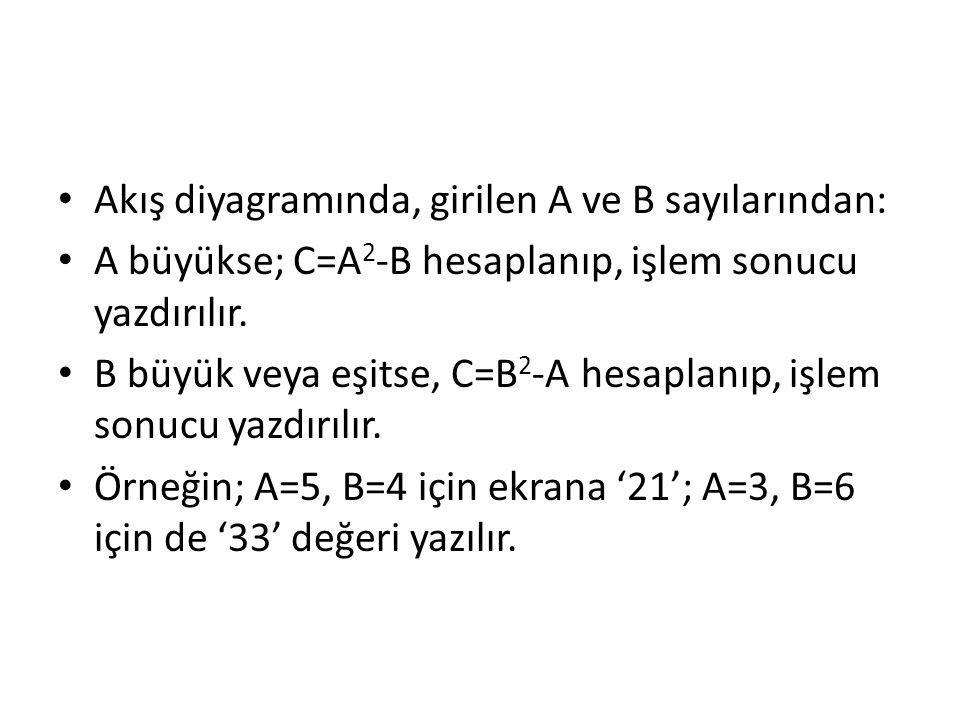 Akış diyagramında, girilen A ve B sayılarından: