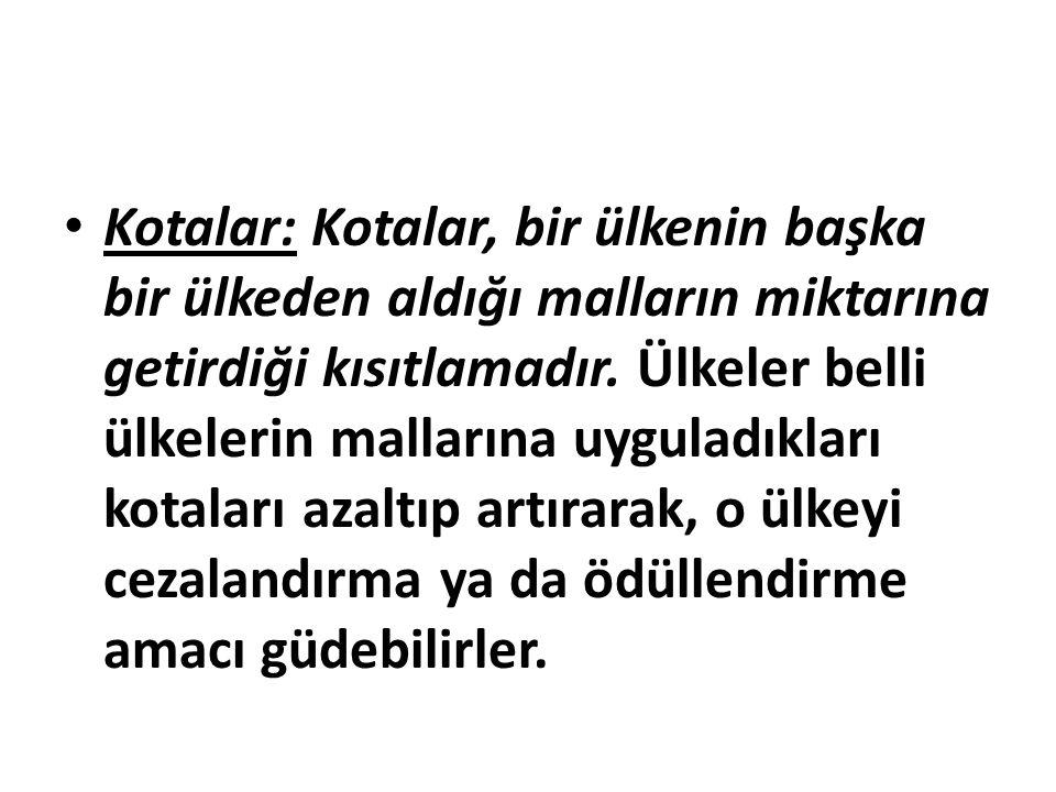 Kotalar: Kotalar, bir ülkenin başka bir ülkeden aldığı malların miktarına getirdiği kısıtlamadır.