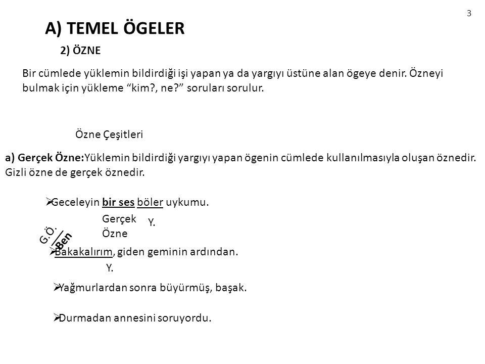 3 A) TEMEL ÖGELER. 2) ÖZNE.