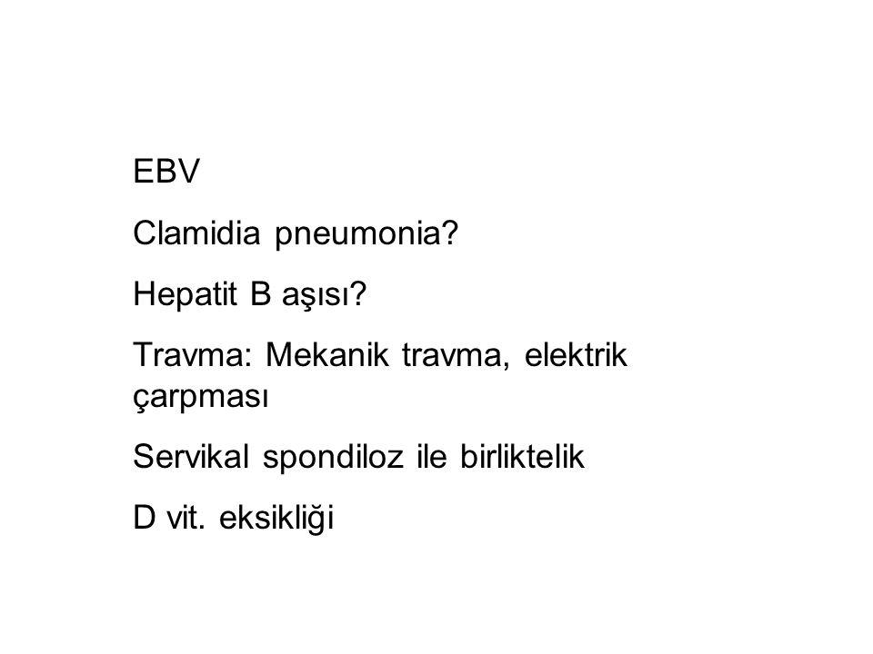 EBV Clamidia pneumonia Hepatit B aşısı Travma: Mekanik travma, elektrik çarpması. Servikal spondiloz ile birliktelik.