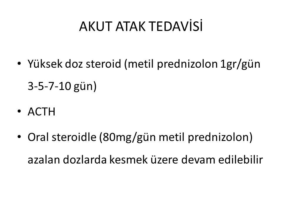 AKUT ATAK TEDAVİSİ Yüksek doz steroid (metil prednizolon 1gr/gün 3-5-7-10 gün) ACTH.