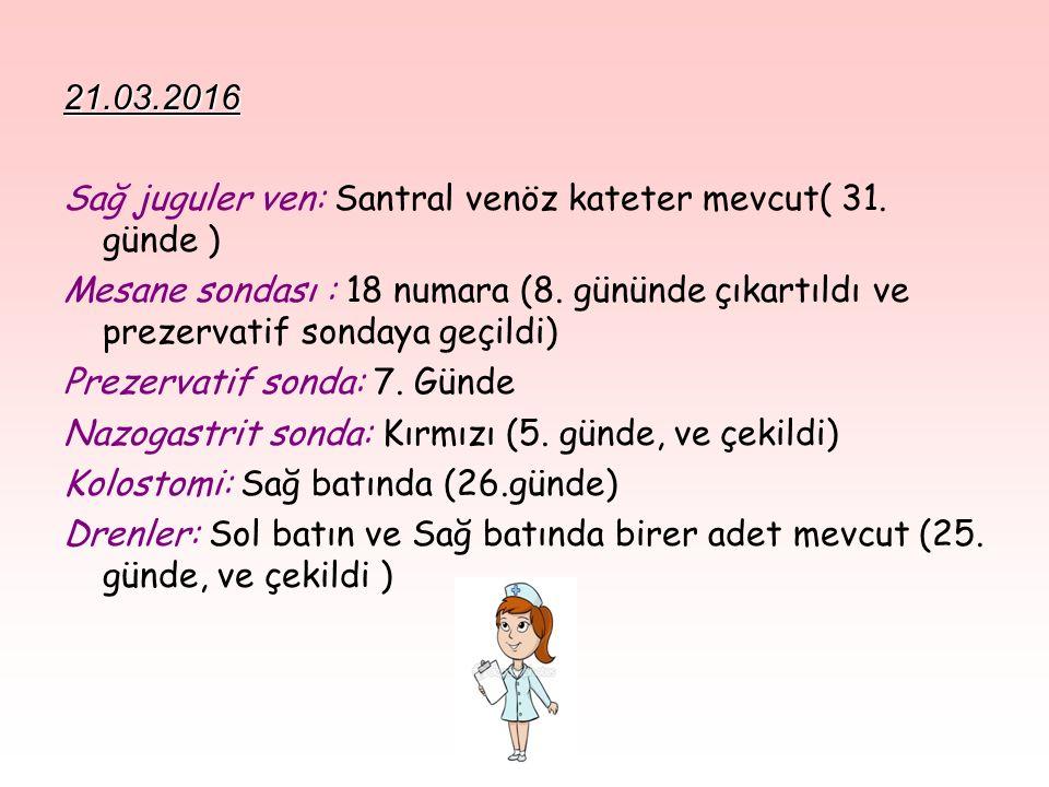 21.03.2016 Sağ juguler ven: Santral venöz kateter mevcut( 31. günde )