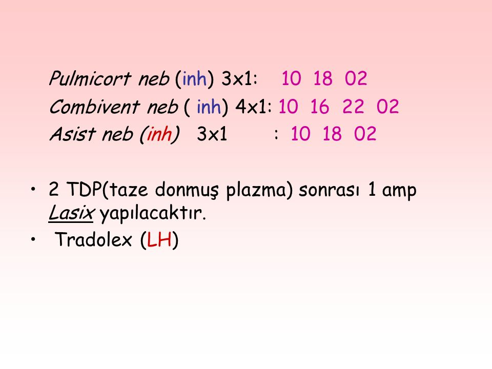 Pulmicort neb (inh) 3x1: 10 18 02 Combivent neb ( inh) 4x1: 10 16 22 02. Asist neb (inh) 3x1 : 10 18 02.