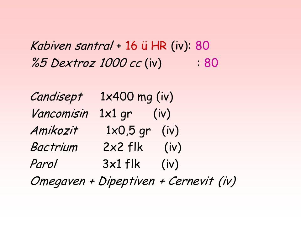 Kabiven santral + 16 ü HR (iv): 80