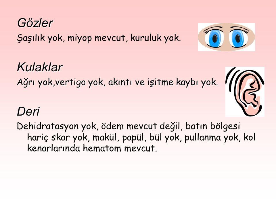 Gözler Kulaklar Deri Şaşılık yok, miyop mevcut, kuruluk yok.