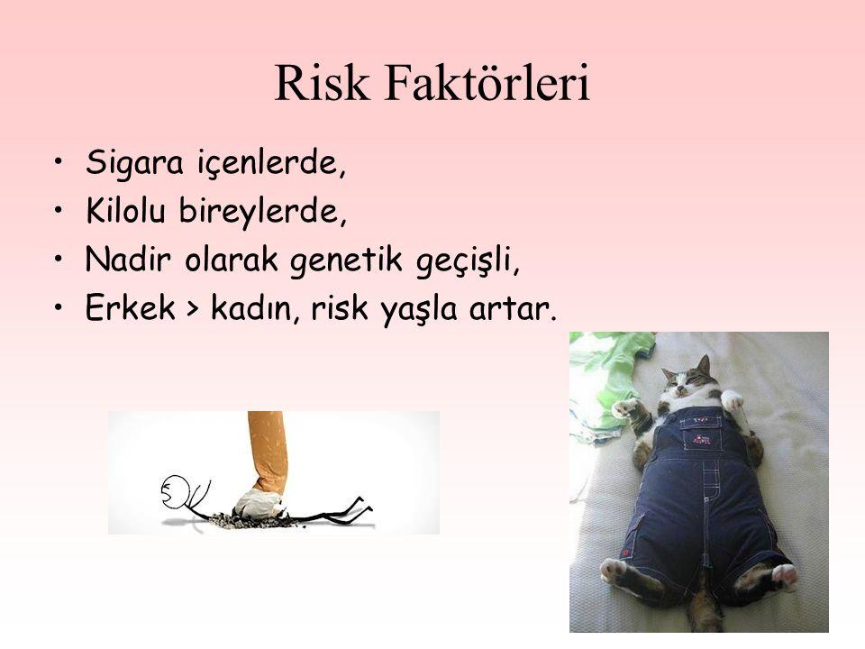 Risk Faktörleri Sigara içenlerde, Kilolu bireylerde,